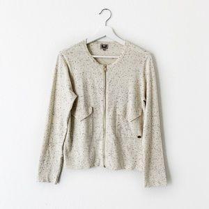 Adolfo Dominguez Cream Dotted Zip Up Sweater